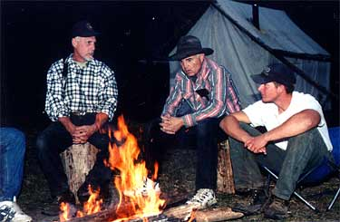 Our Wranglers around the campfire